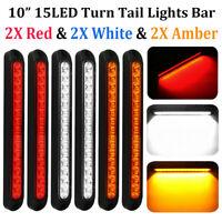 """6x LED 10"""" Truck Light Bar Brake Turn Tail Lights Strip Red Amber White 12V-24V"""
