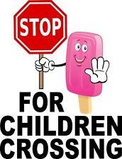 """Stop for Children Crossing Vinyl Decal 14"""" Concession Ice Cream Food Truck Cart"""
