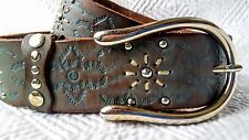 """OILILY Designer Wide Belt Size Small 80 cm/31.5"""" Brown Leather Turquoise Green"""