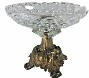 Vintage L&L WMC 1973 #9319 Crystal Plate AshTray Candy Dish Brass Pedestal