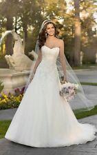 Neu A-Linie Weiß Spitzen Brautkleider Hochzeit Abendkleid 34 36 38 40 42 44 46