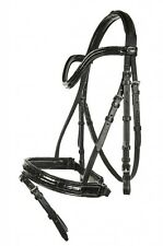 HKM Croco Patent Leather Bridle-Flash Noseband-Reins - Black-Full Size-Fast&Free