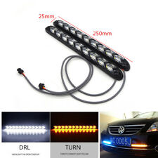 1 Pair Car White/Amber LED Light Strips Switchback Flowing DRL/Turn Signal Lamp