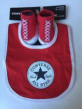 Converse All Star Baby Boy Girl 0-6M Bib Bootie Set Red NEW