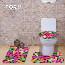 Pink 3pcs/Set Carpet Bathroom Toilet Bath Shower Pad Mat Flannel Soft Washable