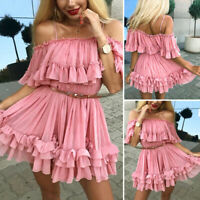 Womens Party Off Shoulder Ruffle Frill Mini Dress Ladies Summer Short Dress Tops
