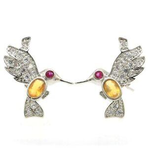 Lovely Songbird Shape Golden Citrine Tourmaline CZ Silver Earrings