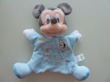 F6- DOUDOU PLAT MARIONNETTE MICKEY MOUSE DISNEY BABY NICOTOY BLEU GRIS FUSEE