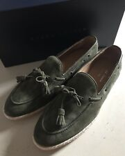 New $495 Men's Ralph Lauren Purple Label Calf Suede Loafers Shoes Green 7.5 US