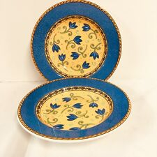 La Primula Rimmed Soup Bowls Blue And Yellow Flowers By Furio Homes Italy