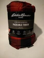 "Eddie Bauer Home Throw Red Down Alternative Packable  60"" X 70"""