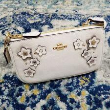Coach Large Wristlet 19 Floral Applique Chalk Gold NWT $198