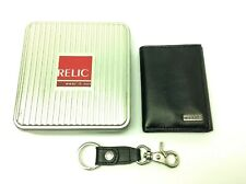 Vintage Black Genuine Leather Relic Men's Wallet with Keychain and Box Accessory