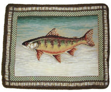 "17"" x 21"" Handmade Wool Needlepoint Dark Trout Fish Pillow with Coffee Cording"
