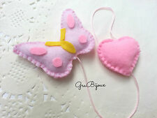 Segnalibro pannolenci feltro farfalla cuore handmade