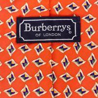 "VTG Burberry London Mens 58"" Peach Geometric 100% Silk Neck Tie Hand Made USA"