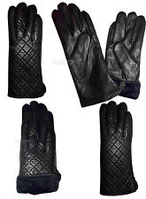 New (XL) Women's dressy Leather Gloves Quilted Black Leather Warm Winter Gloves