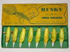 Vintage 1952 Styson Art China Husky Corn On Cob Holders Set Of 8 Original Box