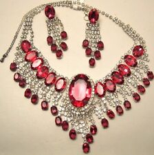 Necklace Earring Set Oval Pink Rhinestone Drop Mesh Adjustable Choker NWT L1240