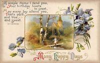 Antique 1910 Birthday Postcard Germany Embossed Posted Burnside Poem