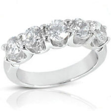 1.50 carat Round Diamond Band 14k Gold Anniversary Ring 5 x 0.30 ct GIA E-F VS2