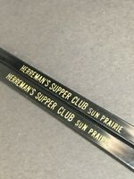 Lot of 2 Vtg Black Herreman's Supper Club Sun Prairie WI Swizzle Stir Stick USA