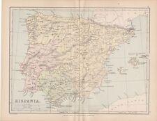1872 VICTORIAN ANCIENT MAP ~ HISPANIA SPAIN ~ LUSITANIA BALEARES