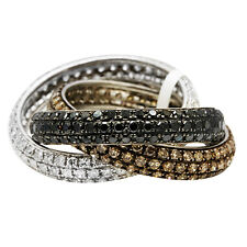 14K WHITE GOLD BLACK BROWN CHAMPAGNE DIAMOND ROLLING TRINITY ETERNITY BAND RING
