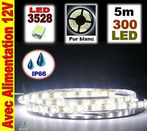 A841/5# Ruban LED Blanc étanche 300LED 5m + alim