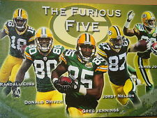 "NFL Green Bay Packers (THE FURIOUS FIVE) 16"" x 24"" Canvas Print, Framed, NEW"