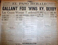 1930 headline newspaper GALLANT FOX WINS KENTUCKY DERBY Horse Race TRIPLE CROWN