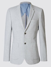 Marks and Spencer Grey Cotton Blend Jersey Jacket 40l Td170 CC 04