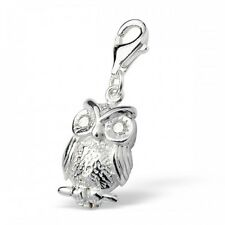 Sterling Silver Owl Crystal Clip On Charm 925 with Gift Box