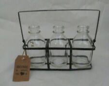NWT Shabby Chic Midern Industrial Farmhouse Mini Milk Bottle Trio in Metal Rack