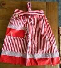 MINT w/Tag Vintage RED White Striped Christmas Valentine Kitchen Apron