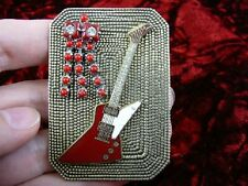 (m307-a1) Red Gibson Explorer guitar 24k mini brass pin pendant I love guitars