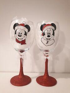 Minnie And Mickey Mouse Glitter Wine Glass glasses Christmas Gift secret santa