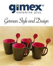 Gimex Melamin Camping Geschirr 4-tlg Henkel Becher Set mit Löffel grey-brombeer
