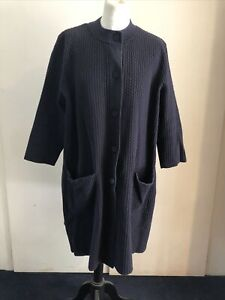 COS Navy Textured Cotton Blend Knitted Summer Swing Coat A Line Duster UK M