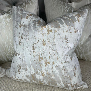 """Luxury Cushion Cover 16"""" Mellow Designer Fabric Marble Effect White Cooper Gold"""