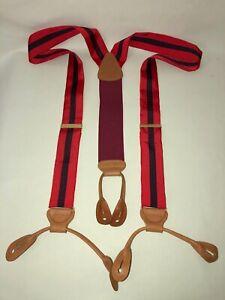 Trafalgar Men's Red Purple Striped Silk Leather Brace Suspenders