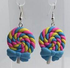 Large Blue pink bow Swirl Lollipop Lolly Pendant Earrings Fimo Kitsch  H040