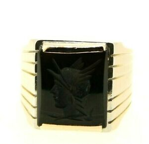 Men's Ring Vintage Years' 80 IN Rose Gold Solid 18K With Onyx God Hermes