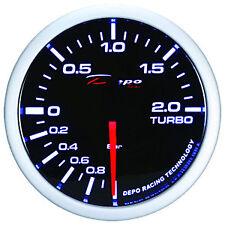 Manometro Strumento 52mm DEPO Pressione Turbo -1+2 BAR Nero MECCANICO