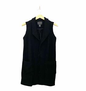 Tahari Wool Blend Duster Trench Vest Black Women's Size Small Pockets Long Warm