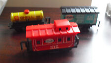 Lot of 2 Vintage Japan Plastic and Tin Small Train Cars for Playset