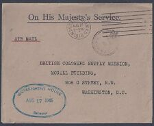 BAHAMAS 1945 OHMS OFFICIAL FEE PAID MARKED COVER NASSAU TO WASHINGTON GOVERNMENT