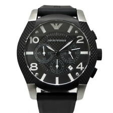 EMPORIO ARMANI Chronograph Watch AR5839 Black Ion Plated Steel Case 46mm $450