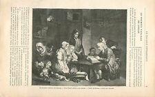 Père lisant la Bible à ses enfants Jean-Baptiste Greuze GRAVURE OLD PRINT 1897