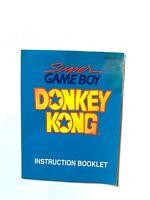 Donkey Kong Super Game Boy Original Nintendo Gameboy Instruction Manual Only